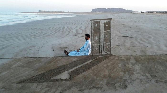 بلوچستان کے خوبصورت ساحل پر'تھری ڈی' بیچ سینڈ آرٹ
