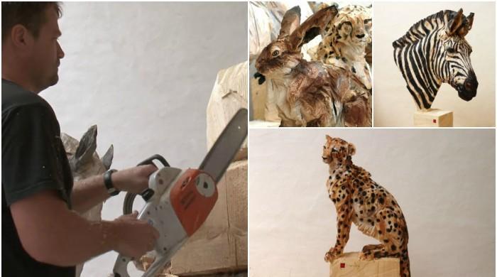 لکڑی پر جانوروں کے 3 ڈی مجسمے بنانے والا ماہر فنکار