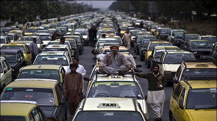 انٹرنیٹ  ٹیکسی سروس کیخلاف احتجاج