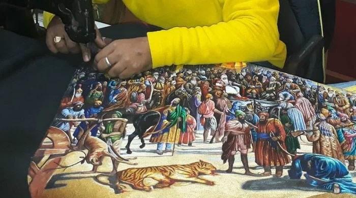 برش کے بجائے سوئی، دھاگے سے مصوری کا خواب پورا کرنے والا فنکار