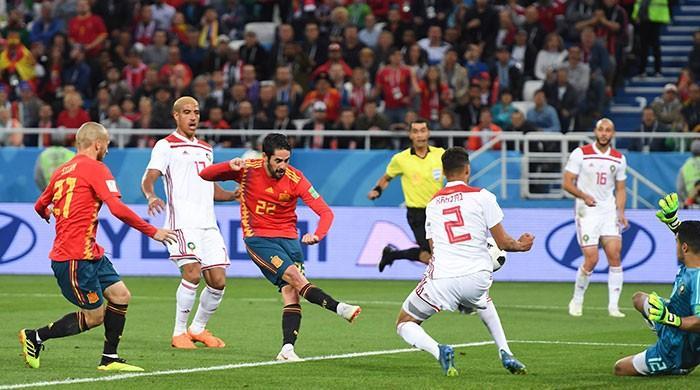 فٹ بال ورلڈ کپ: مراکش اور اسپین کا میچ 2-2 سے برابر