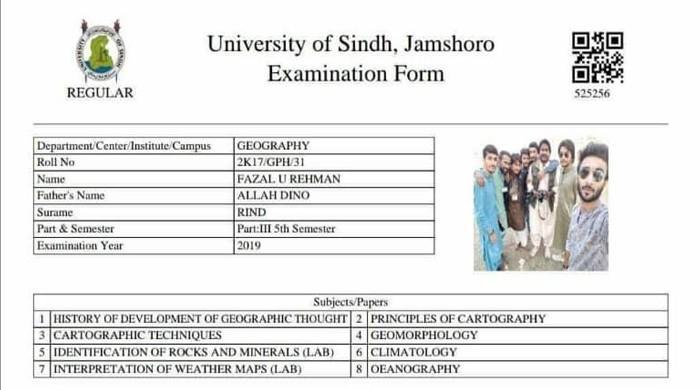 طالبعلم کی شرارت یا سندھ یونیورسٹی انتظامیہ کی نالائقی؟ امتحانی فارم پر سیلفی
