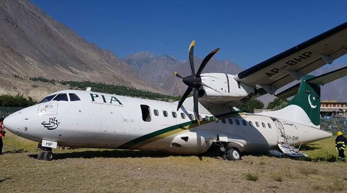 گلگت ائیرپورٹ پر لینڈنگ کے دوران پی آئی اے کا طیارہ پھسل گیا