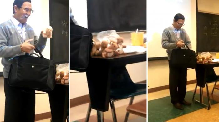 استاد کی طلباء کو کھلونے دینے کی ویڈیو وائرل