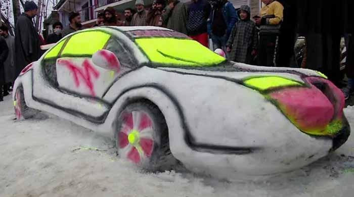 سری نگر کے شہری نے زمین پر پڑی برف سے کار بنادی