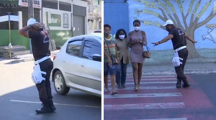 برازیل میں پولیس اہلکار کا ٹریفک کنٹرول کرنے کا دلچسپ انداز