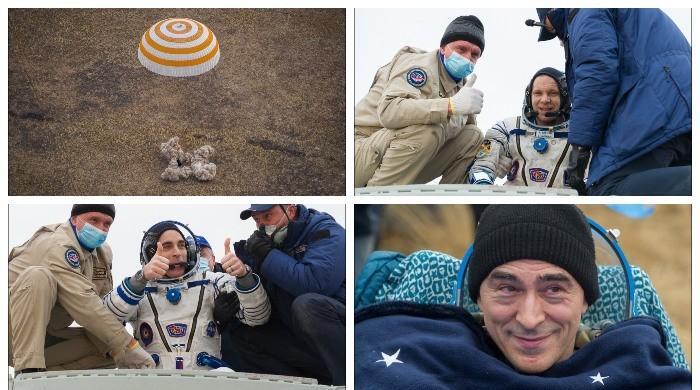 امریکی و روسی خلاباز 196 دن بعد بین الاقوامی اسپیس اسٹیشن سے زمین پر واپس آگئے