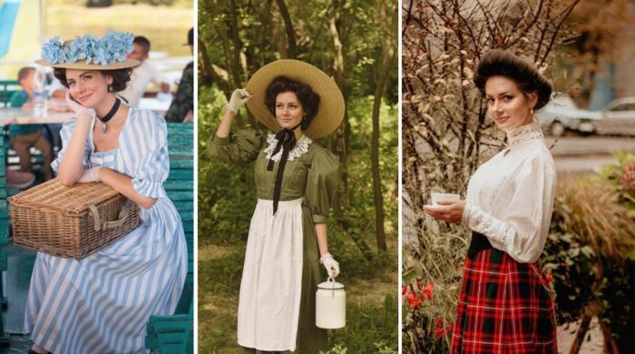 فیشن کے جدید دور میں 18 ویں صدی کے ملبوسات استعمال کرنے والی دوشیزہ