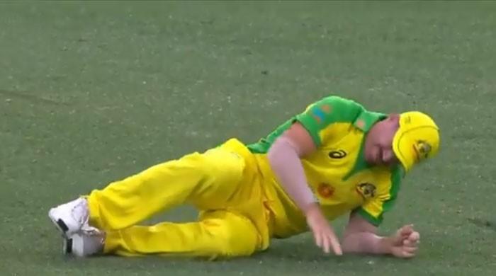 گیند پکڑنے کی کوشش میں آسٹریلوی کھلاڑ ی وارنر زخمی  ہو کر اسپتال منتقل