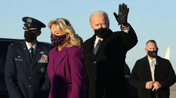تقریب حلف برداری: نومنتخب صدر جوبائیڈن اور کمالہ ہیرس واشنگٹن پہنچ گئے