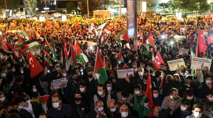 مسجد الاقصیٰ میں اسرائیلی فوج کے مظالم کیخلاف مختلف ممالک میں مظاہرے