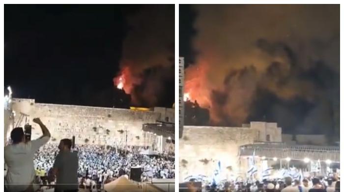مسجد اقصیٰ کے احاطے میں آگ بھڑک اٹھی، آسمان میں بلند ہوتے شعلے دیکھ کر یہودیوں کا جشن