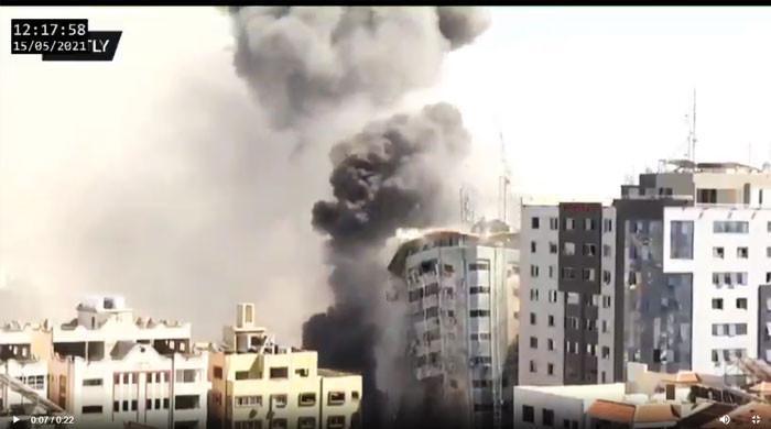10 منٹ کی مہلت کے بعد اسرائيل نے غزہ میں دوسری بلند ترین عمارت کو تباہ کر ڈالا