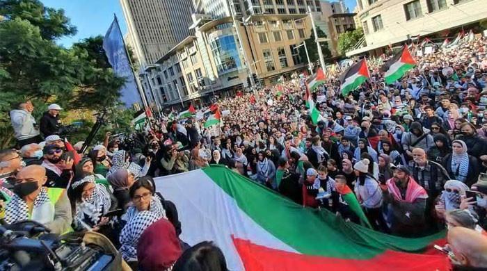 غزہ میں اسرائیلی مظالم کیخلاف پاکستان برطانیہ، اسپین، جرمنی اور فرانس میں مظاہرے