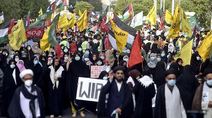 ملک کے مختلف شہروں میں فلسطین پر اسرائیلی جارحیت کیخلاف احتجاجی مظاہرے