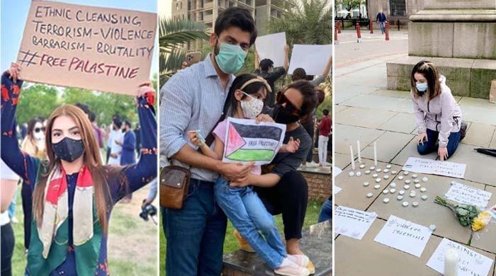 فلسطینیوں سے اظہار یکجہتی کے مظاہرے میں شوبز شخصیات کی شرکت