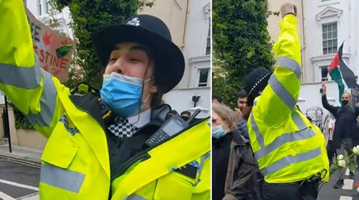 'فری فلسطین' کا نعرہ لگانے والی برطانوی خاتون پولیس افسر کو تحقیقات کا سامنا