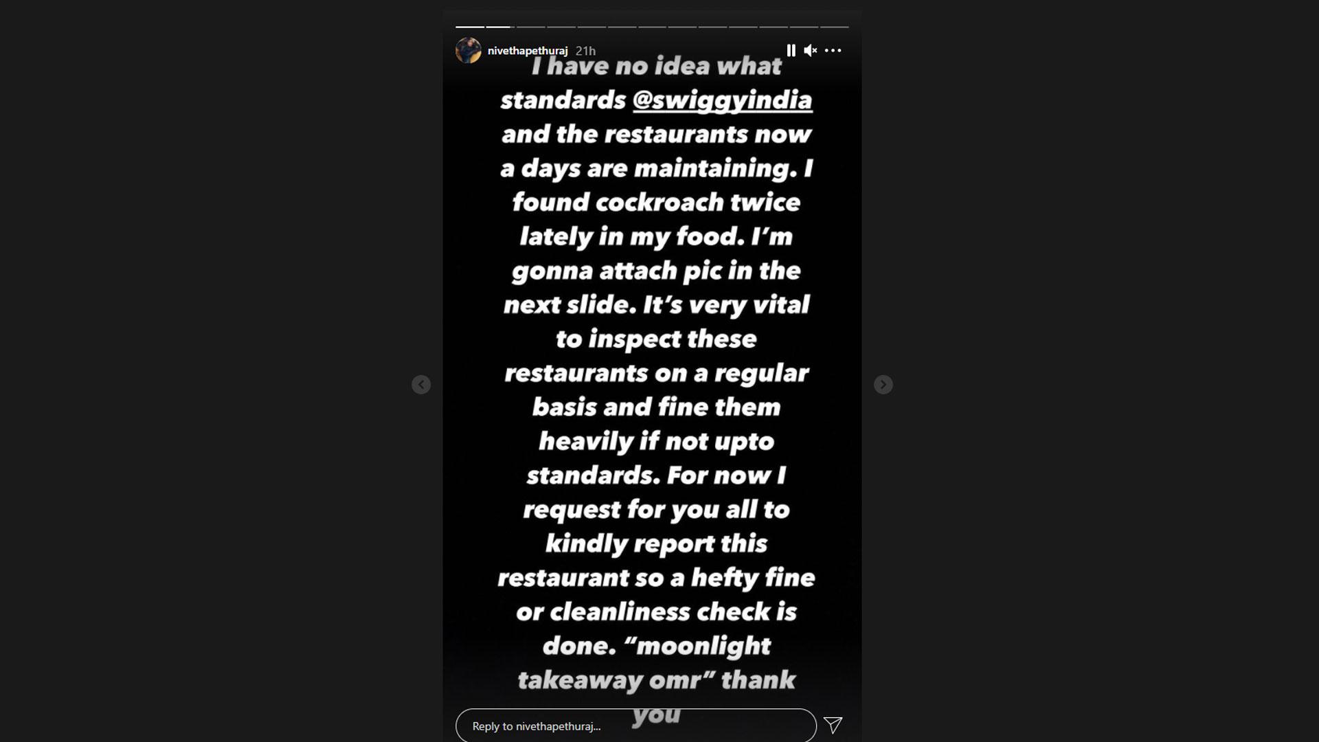 انہوں نے سویگی انڈیا کو ٹیگ کرکے کہا کہ انہیں اس ریسٹورنٹ کو اپنی ایپ سے نکال دینا چاہیے اور دیگر جتنے بھی ریسٹورینٹس کا کھانا وہ ڈلیور کررہے ہیں ان کے معیار کو بھی سختی سے جانچنا چاہیے— فوٹو: اسکرین شاٹ