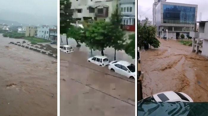 پنڈی اسلام آباد میں سیلابی صورتحال، نشیبی علاقے زیر آب، کئی گاڑیاں بہہ گئیں