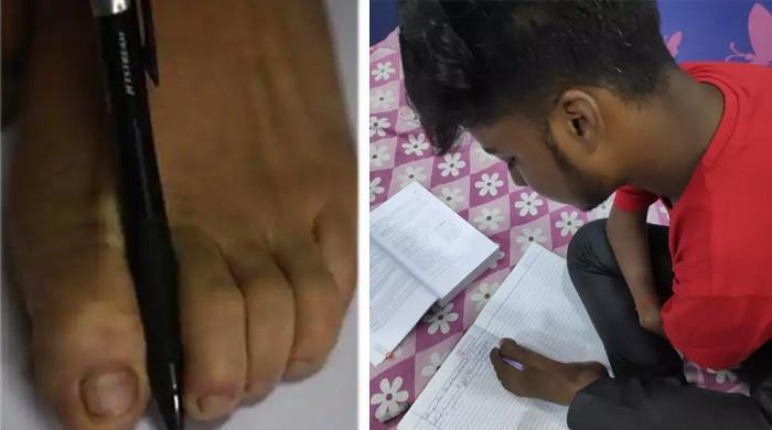 ہاتھوں سے محروم طالبعلم نے پاؤں سے لکھ کر امتحان میں کامیابی حاصل کرلی