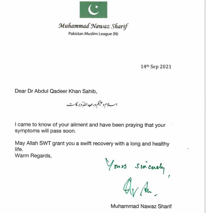 سابق وزیراعظم نواز شریف کا ڈاکٹر قدیر کو خط، خیریت دریافت کی