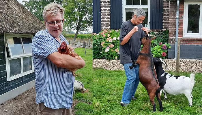 کسان جیپ بیٹس فارم ہاؤس میں اپنے جانوروں کے ساتھ۔ فوٹو: فائل