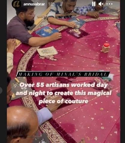 منال خان کا عروسی لباس فیشن ہاؤس انس ابرار کی جانب سے تیار کیا گیا ہے۔