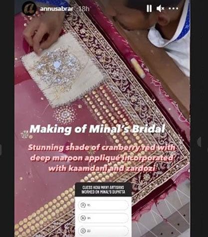 عروسی لہنگے کو 55 کاریگروں نے دن رات محنت کرکے تیار کیا گیا:اسکرین گریب