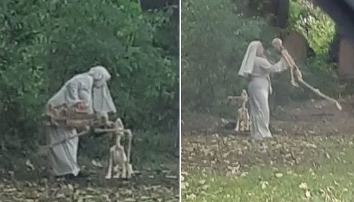 انگلیڈ کے قبرستان میں خاتون کو ڈھانچوں سے کھیلتے دیکھا گیا—فوٹوبشکریہ ٹوئٹر