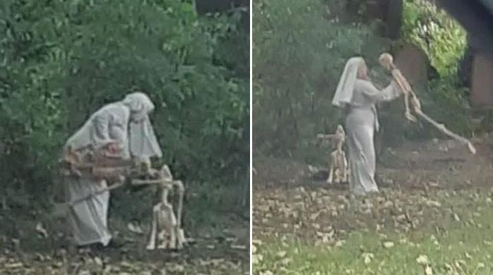 قبرستان میں خاتون کا انسانی ڈھانچے کے ساتھ رقص