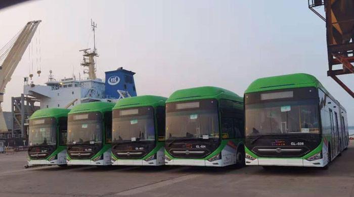 گرین لائن منصوبے کی بسوں سے لدا بحری جہاز پاکستان پہنچ گیا