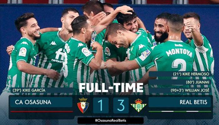 اسپینش فٹبال لیگ لالیگا میں ریال بیٹس نے اوساسوناکو ایک کے مقابلے میں تین گول سے شکست دے دی —فوٹو: لالیگا