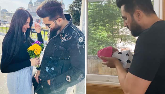 سارہ خان اور فلک شبیر کے ہاں گزشتہ روز بیٹی کی پیدائش ہوئی ہے__فوٹو: انسٹاگرام