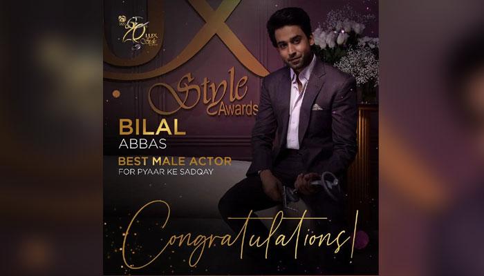 بہترین ٹی وی اداکار ( ناظرین کی پسند) کا ایوارڈبلال عباس نے جیتا— فوٹو: لکس اسٹائل ایوارڈز