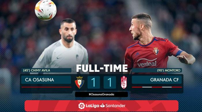 اسپینش فٹبال لیگ: اوساسونا اور گراناڈا کے درمیان مقابلہ ایک، ایک گول سے برابر