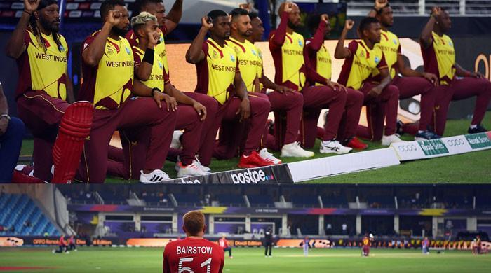 ورلڈکپ: میچ شروع ہونے سے قبل کھلاڑی گھٹنوں پر کیوں بیٹھ رہے ہیں؟
